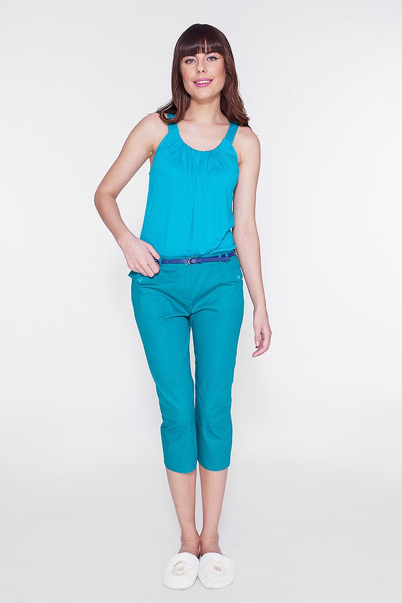 Топ женский Vis-A-Vis, цвет: сине-зеленый. LTV6036. Размер S (44)LTV6036Топ из эластичной вискозы с эффектными складками по горловине.