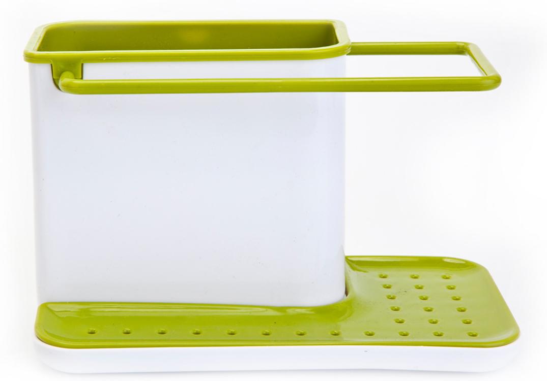 Органайзер для раковины Bradex, вертикальный, цвет: белый, зеленыйTK 0206Органайзер для раковины Bradex позволяет аккуратно хранить принадлежности для мытья посуды прямо на раковине.Имеет отсек для моющего средства и щеток, ручку для сушки тряпочек и место под губку. Не занимает много места, не портит интерьер. Легко разбирается и моется.