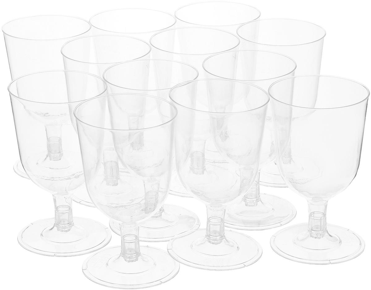 Набор одноразовых бокалов для вина Duni, цвет: прозрачный, 130 мл, 12 шт салфетки duni салфетки duni комплект 2 шт