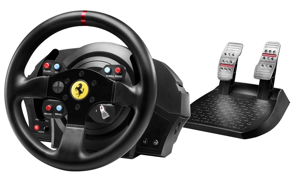 Thrustmaster T300 Ferrari GTE EU Version руль для PS4/PS3 (4160609)4160609Гоночный симулятор нового поколения с силовой обратной связью для PlayStation4 и PlayStation3 (совместим также с ПК).В сервомоторе сочетается привод вращательного движения (технология H.E.A.R.T HallEffect AccuRate Technology), обеспечивающий точность управления угловым положением, скоростью и ускорением, и промышленный бесщеточный мотор типа brushless. Кроме того, сервомотор Thrustmaster связан с достаточно сложным алгоритмом FOC (Field oriented Control, управление с учетом полевых испытаний), обеспечивающим оптимальную эффективность, минимальный показатель cogging, наибольшую плавность движения, высочайшую точность и наибольший крутящий момент силовой обратной связи.Бесщеточный мотор промышленного классаСупермягкая и плавная силовая обратная связь, исключительная чувствительность и реалистичные силовые эффектыНовый оптимизированный механизм без трения с двумя ремнямиТехнология H.E.A.R.T HallEffect AccuRate Technology с бесконтактным магнитным датчиком — точность, не убывающая со временем16-битное разрешениеУгол поворота регулируется в диапазоне от 270° до 1080°Съемная реплика руля Ferrari 458 Challenge масштаба 7:10Официальные кнопки PlayStation4 на руле (PS, SHARE, OPTIONS) — доступ к новым функциям общения моментальным переключением между игрой и системой когда угодноРеалистичный гоночный руль диаметром 28 см с перемычками из шероховатого металлаУсиленное текстурированное прорезиненное покрытие по всей поверхности руляВес порядка 1,2 кг для ультрареалистичного ощущения инерции и силовой обратной связиНа руле 2 крупных фиксированных лепестковых переключателяЛепестковые переключатели высотой 13 см 100% металлические Тактовая кнопка с жизненным циклом более 10 млн активаций8 функциональных кнопок (в том числе 2 на базе ) + 1 многопозиционная кнопка3-позиционный регулятор Manettino с нажимной кнопкой в центреСъемный руль с системой быстрого крепления Thrustmaster Quick ReleaseПолностью регулиру