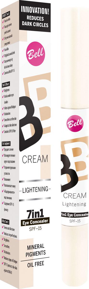 """Bell Корректор светоотражающий Bb Cream Lightenning 4 грBkoBB010В состав корректора входят специальные увлажняющие компоненты, благодаря которым кожа становится более эластичной и увлажненной. Модифицирован кремнеем создает эффект """"Soft Focus"""" - зрительно минимизурующий несовершенства кожи. Корректор содержит фильтр SPF 15, обеспечивающий полную защиту чувствительной и тонкой кожи вокруг глаз. При синяках, отеках под глазами, отсутствии упругости кожи. Особенности состава: В состав корректора входят специальные увлажняющие компоненты, благодаря которым кожа становится более эластичной и увлажненной. Модифицирован кремнеем, создает эффект """"Soft Focus"""" - зрительно минимизурующий несовершенства кожи. Способ применения: Нанести тонким слоем лёгкими движениями на кожу вокруг глаз"""