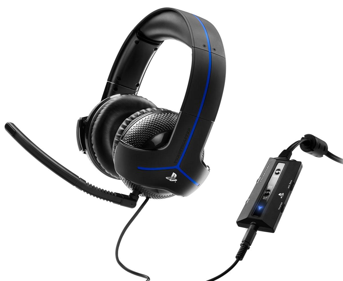 Thrustmaster Y300P игровая гарнитура для PS4 (4160596)4160596Гарнитура нового поколения Thrustmaster Y300P со звукоусилением, специально для PlayStation4.Специальный дизайн, созданный командой Thrustmasterпо лицензии Sony, исключительно удобный: большие, супермягкие ушные подушки и мягкая пенная прокладка под дугой оголовья - для максимального комфорта во время длительных игровых сессий и надежная, эффективная пассивная изоляция.Микрофон с шумоподавлением, рассчитанный на улавливание только голоса геймера и подавления окружающих шумов - для максимально эффективной связи с партнерами по команде. Микрофон можно снять и отрегулировать под любой размер и форму головы геймера.Аудиопараметры подогнаны под PlayStation4 и PlayStation3, электронная начинка рассчитана на оптимизацию звука для воспроизводящей системыКристально чистый звук благодаря отличным 50 мм динамическим головкамРеалистичное воспроизведение звука благодаря сбалансированной амплитудно-частотной характеристике, оптимизированной для игрДвойное электроакустическое усиление нижних частот благодаря специальному дизайну ушных чашек дополняется электронным усилением басов, встроенным в контроллер