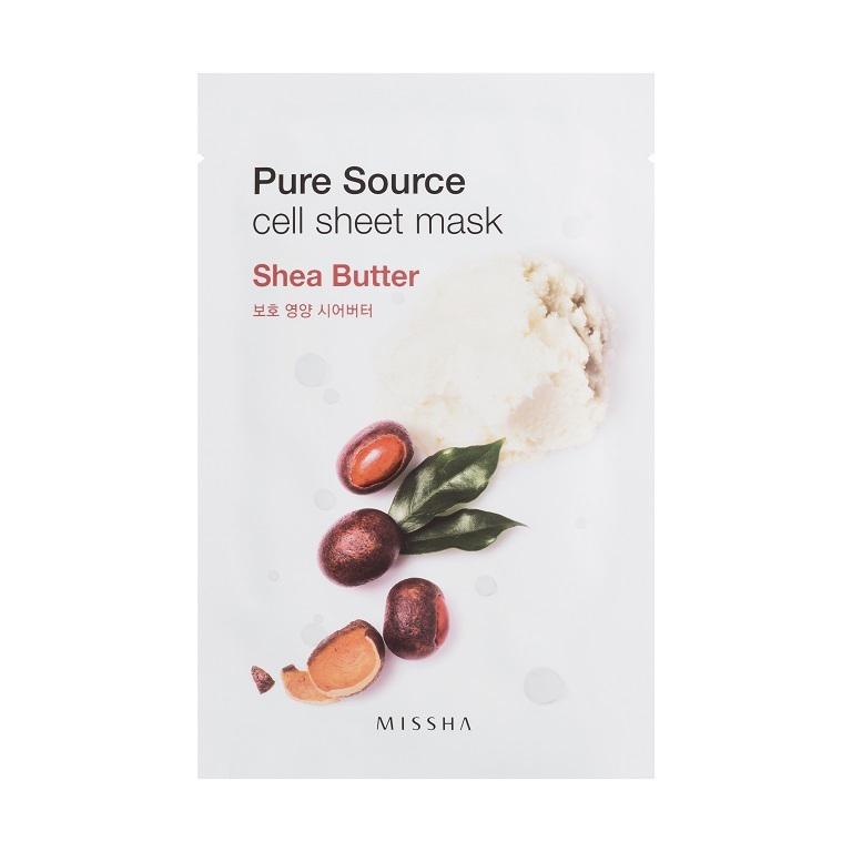 Missha Маска для лица листовая с маслом ши Pure Source Cell Sheet Mask (Shea Butter)МШ5180Экстракт масла ши благодаря своим увлажняющим компонентам хорошо питает и образует на коже барьер, удерживающий влагу внутри.Вес: 21 гр.