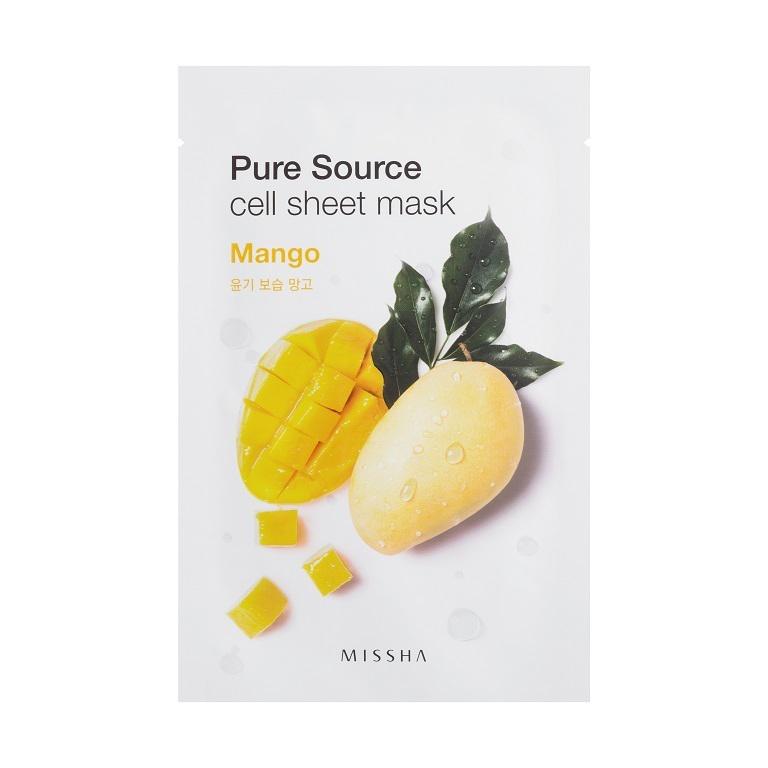 Missha Маска для лица листовая с манго Pure Source Cell Sheet Mask (Mango)МШ5183Сладкий и мягкий экстракт манго обеспечивает естественное сияние кожи, делая ее гладкой и упругой.Вес: 21 гр.