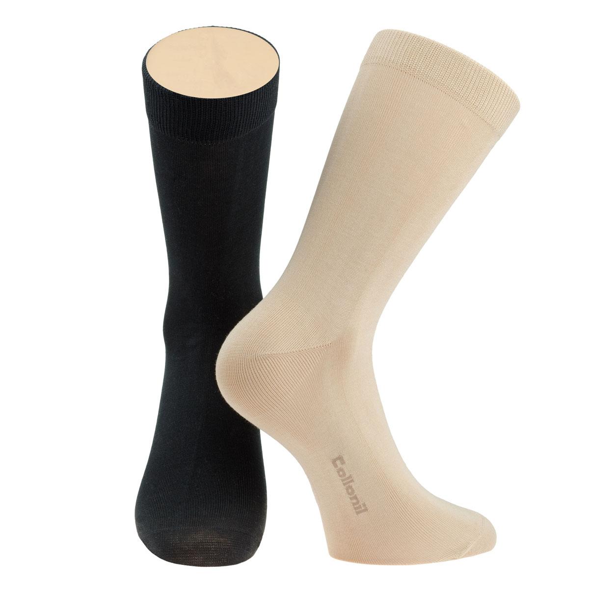 Носки мужские Collonil, цвет: черный, бежевый, 2 пары. CE3-40/04. Размер 39-42CE3-40/04Мужские носки Collonil изготовлены из эластичного хлопка с добавлением полиамида.Удлиненная широкая резинка не сдавливает и комфортно облегает ногу.В комплекте 2 пары.