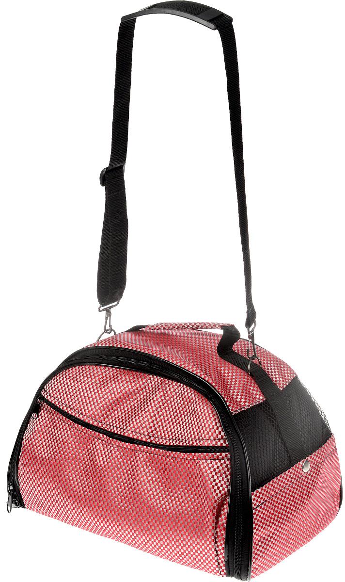 """Сумка-переноска для животных """"Elite Valley"""", цвет: розовый, белый, черный, 39 х 27 х 25 см"""