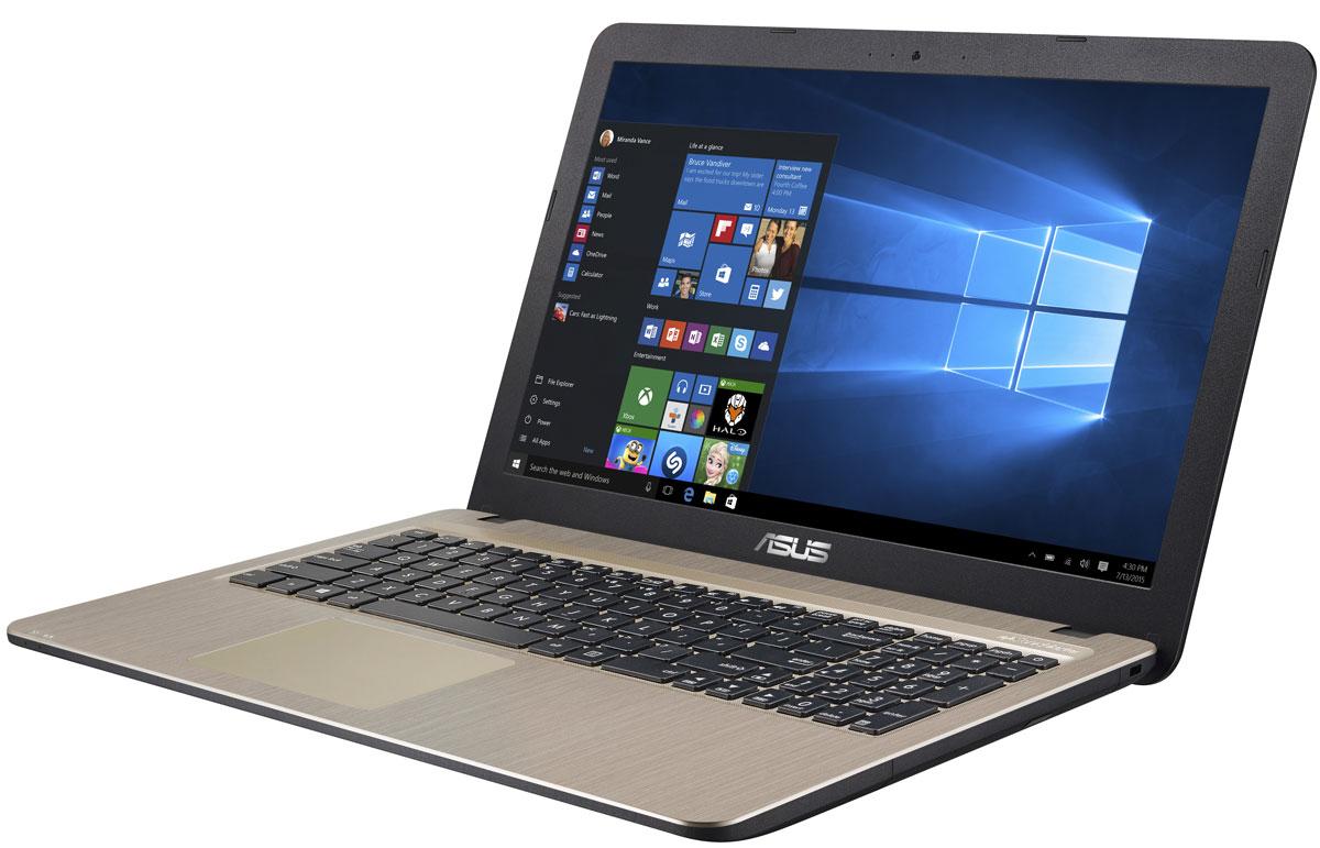 ASUS VivoBook X540SA, Chocolate Black (90NB0B31-M00730)90NB0B31-M00730Серия VivoBook X540 – это современные ноутбуки для ежедневного использования как дома, так и в офисе. Их мощная аппаратная конфигурация, в которую входит современный процессор Intel, обеспечит высокую скорость работы любых приложений. В качестве операционной системы на них устанавливается Windows 10.Для быстрого обмена данными с периферийными устройствами VivoBook X540SA предлагает высокоскоростной порт USB 3.1 (5 Гбит/с), выполненный в виде обратимого разъема Type-C. Его дополняют традиционные разъемы USB 2.0 и USB 3.0. В число доступных интерфейсов также входят HDMI и VGA, которые служат для подключения внешних мониторов или телевизоров, и разъем проводной сети RJ-45. Кроме того, у данной модели имеются оптический привод и кард-ридер формата SD/SDHC/SDXC.Благодаря эксклюзивной аудиотехнологии SonicMaster встроенная аудиосистема ноутбука VivoBook X540SA может похвастать мощным басом, широким динамическим диапазоном и точным позиционированием звуков в пространстве. Кроме того, ее звучание можно гибко настроить в зависимости от предпочтений пользователя и окружающей обстановки.Круглые динамики с большими резонансными камерами (19,4 куб. см) обеспечивают улучшенную передачу низких частот и пониженный уровень шумов.Ноутбук VivoBook X540SA выполнен в прочном, но легком корпусе весом всего 1,9 кг, поэтому он не будет обременять своего владельца в дороге, а привлекательный дизайн и красивая отделка корпуса превращают его в современный, стильный аксессуар.В ноутбуке VivoBook X540SA реализована разработанная специалистами ASUS технология Splendid, позволяющая выбрать один из нескольких предустановленных режимов работы дисплея, каждый из которых оптимизирован под определенные приложения: режим Vivid подходит для просмотра фотографий и фильмов, режим Normal - для обычной работы в офисных приложениях, а в специальном режиме Eye Care реализована фильтрация синей составляющей видимого спектра для повышения ком