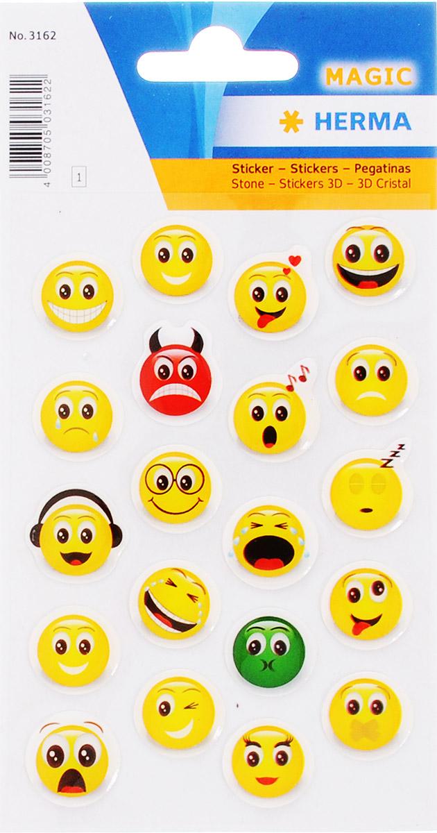 Herma Наклейки Веселый смайл 20 шт3162Яркие, красочные наклейки из гибкого и прочного силикона Herma Веселый смайл обязательно привлекут внимание вашего ребенка.Ими можно оформить альбомы, конверты, поздравительные открытки. Забавные смайлы подарят вам и вашему ребенку веселое настроение.Клей не вызывает аллергии.