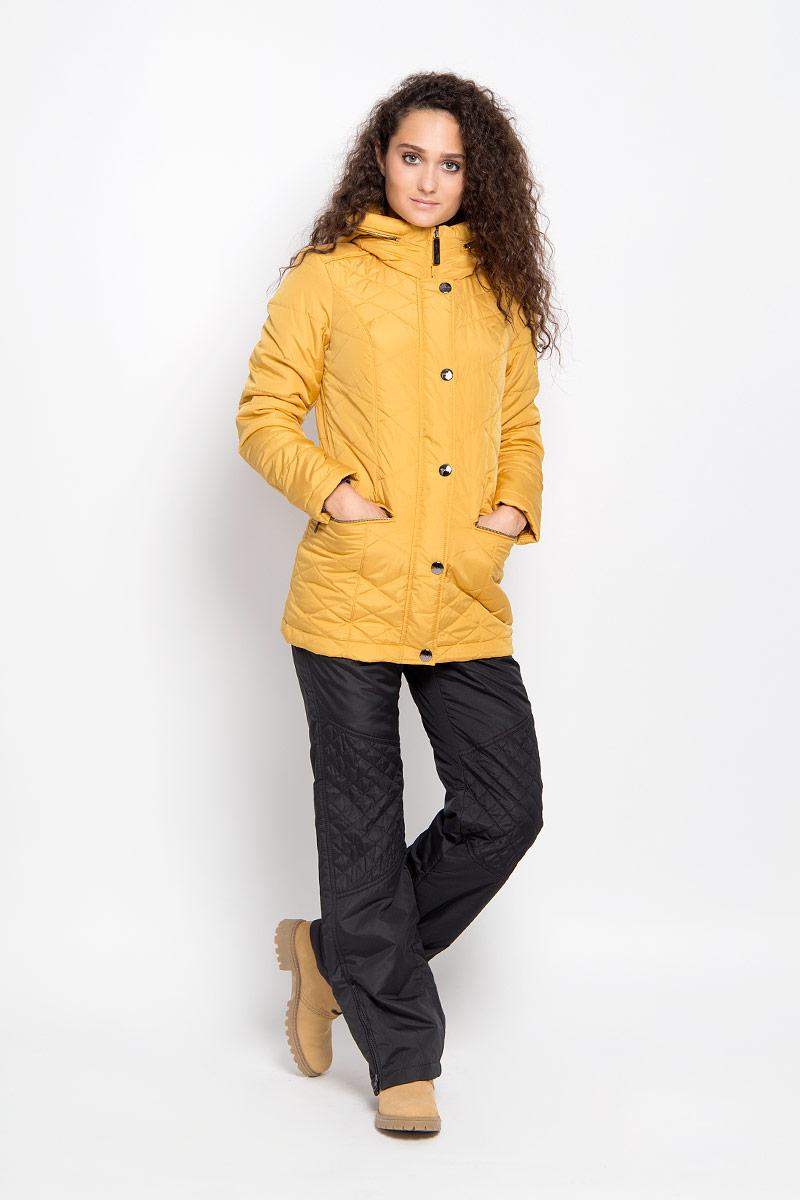 Куртка женская Finn Flare, цвет: горчичный. A16-12010_421. Размер L (48)A16-12010_421Удобная женская куртка Finn Flare согреет вас в прохладную погоду и позволит выделиться из толпы. Удлиненная модель с длинными рукавами и высоким воротником-стойкой выполнена из прочного полиэстера, застегивается на молнию спереди и имеет ветрозащитный клапан на кнопках. Куртка имеет несъемный капюшон, складывающийся в специальный карман на застежке-молнии на воротнике. Объем капюшона регулируется при помощи шнурка-кулиски со стопперами.Изделие оформлено оригинальным стеганым узором и дополнено двумя втачными карманами на молниях спереди. Плотный наполнитель из синтепона надежно сохранит тепло, благодаря чему такая куртка защитит вас от ветра и холода. Эта модная и в то же время комфортная куртка - отличный вариант для прогулок, она подчеркнет ваш изысканный вкус и поможет создать неповторимый образ.