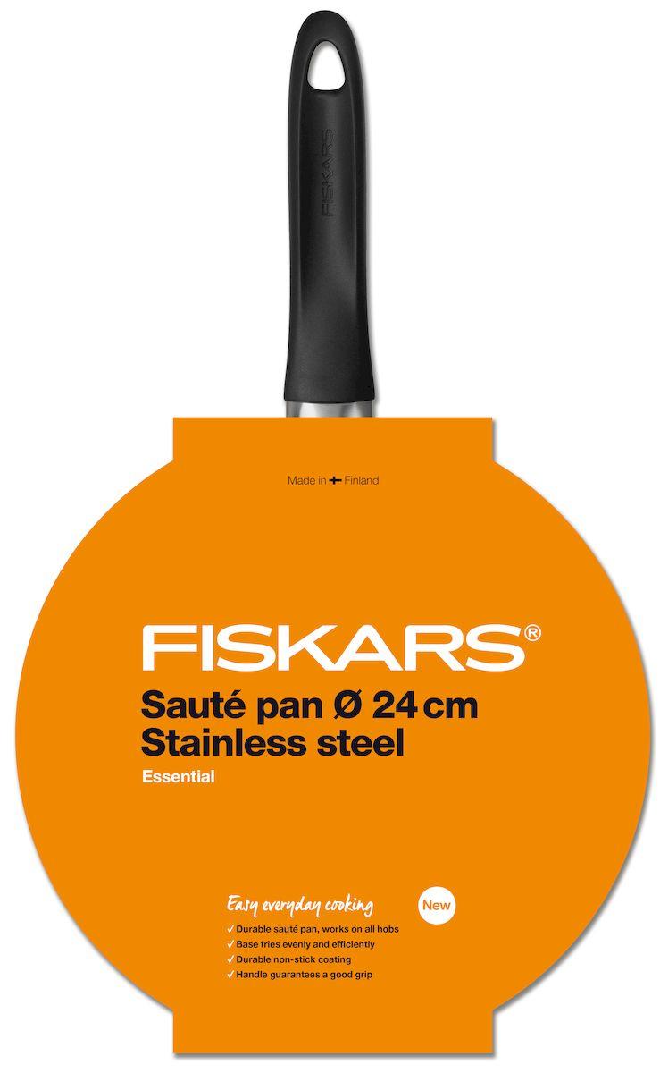 """Сотейник с крышкой производства известного финского бренда """"Fiskars"""" относится к утонченной линейке кухонной утвари """"Essential"""". Диаметр  посуды составляет 24 см. Главным отличием сотейника от сковородки являются высокие стенки и длинная массивная ручка. Назначений у этого  кухонного аксессуара действительно много, он может варить, тушить и пассировать. Идеально использовать для приготовления кулинарных  кремов, соусов и блюд, требующих встряхивания и готовки при высоких температурах. Также, сотейник с крышкой оптимально использовать для  приготовления блюд, в которых необходимо сохранить влагу до самого конца процесса. Еще одно неоспоримое преимущество – возможность  контролирования вкусовых качеств блюда в процессе готовки. Для изготовления сотейника Fiskars """"Essential"""" используется нержавеющая сталь отличительного качества. Специальное покрытие  антипригарного типа надежно защищает блюда во время приготовления и поверхность сотейника. К тому же, снижается вероятность прилипания  пищи к поверхности или появления каких-либо царапин. Удобная ручка эргономичной конструкции выполнена из термостойкого пластика, благодаря чему не нагревается.  Сотейник Fiskars """"Essential""""оптимально очищать в посудомоечной машинке."""