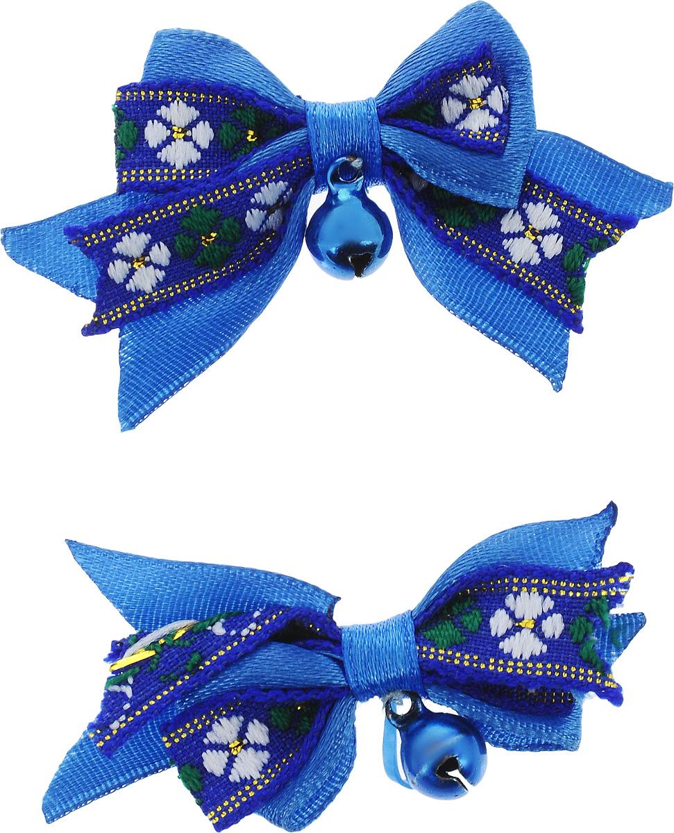 Резинка для животных Каскад Бант, с бубенчиком, цвет: синий, белый, фиолетовый, 3,5 х 2,5 см, 2 шт игрушка для животных каскад мячик пробковый цвет зеленый 3 5 см