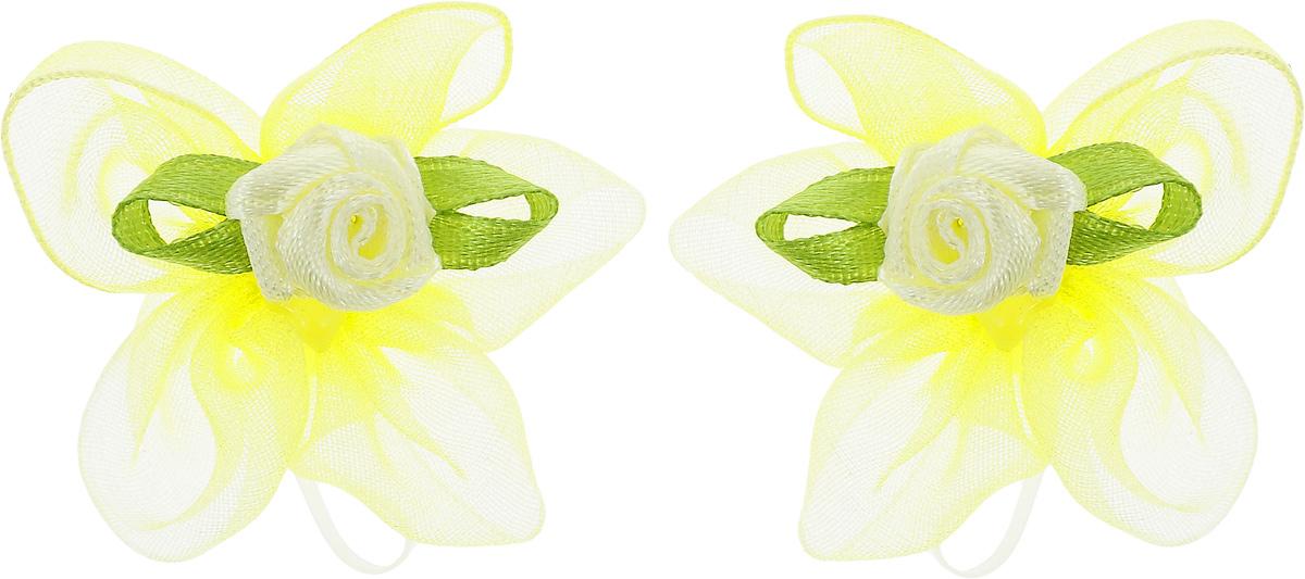 Резинка для животных Каскад Цветок, цвет: желтый, диаметр 3 см, 2 шт для животных