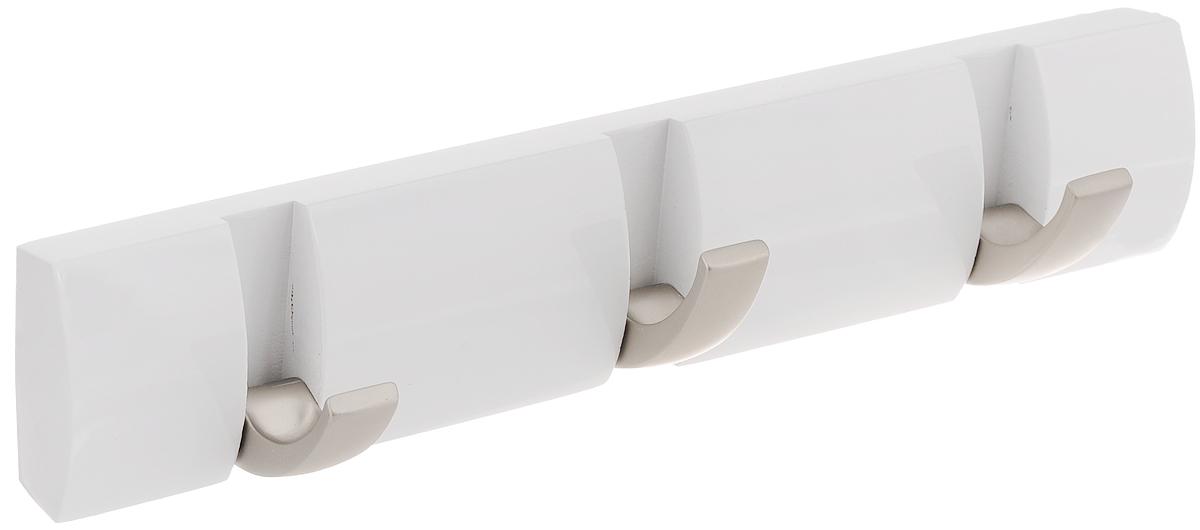 Вешалка настенная Umbra Flip, цвет: белый, 3 крючка318853-660Настенная вешалка Umbra Flip изготовлена из дерева. Имеет 3 откидных крючка из никеля, каждый из которых выдерживает вес до 2,3 кг. Когда они не используются, то складываются, превращая конструкцию в абсолютно гладкую поверхность. Идеально для маленьких прихожих и ограниченных пространств. Стильная и прочная вешалка интересной формы. Необходимые крепления вешалки к стене и инструкция входят в комплект.