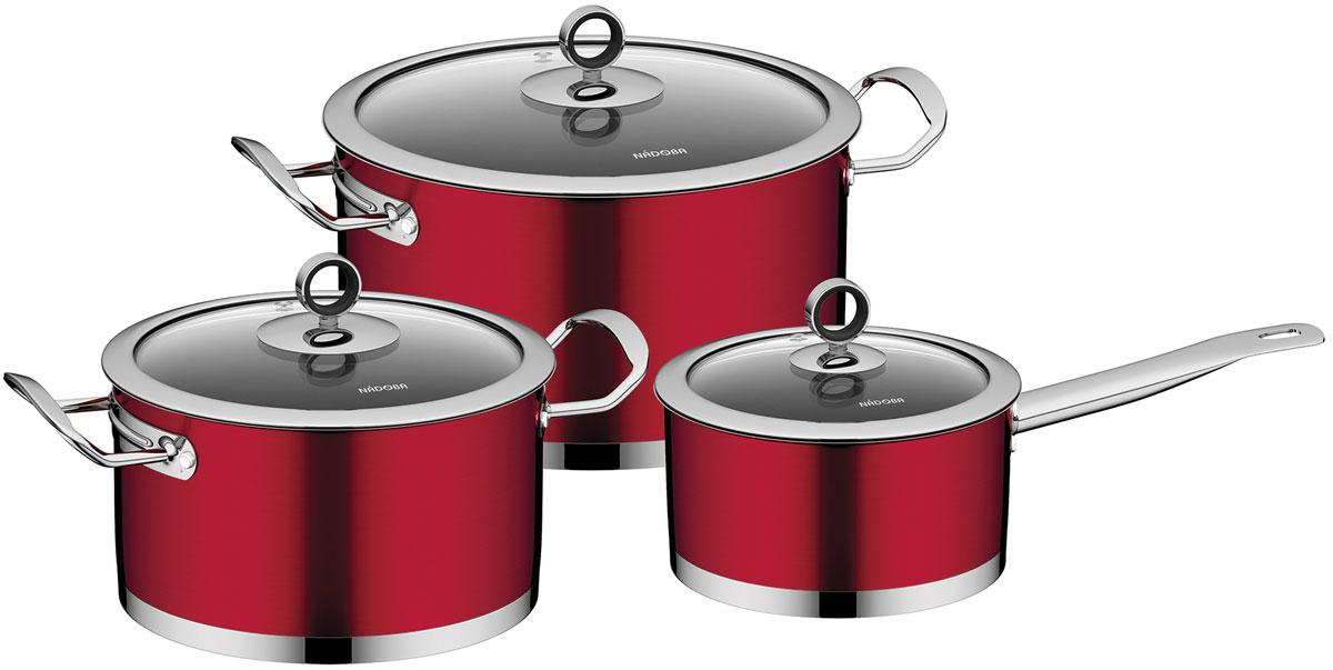 """Набор посуды Nadoba """"Cervena"""" состоит из двух кастрюль с крышками и ковша с крышкой.    Посуда изготовлена из высококачественной нержавеющей стали 18/10.  Прочное трехслойное капсульное дно обеспечивает равномерное термораспределение.  Эффектное внешнее антипригарное жаропрочное покрытие придает посуде безупречный  внешний вид.   Посуда снабжена удобными литыми ручками. Внутренняя поверхность идеально  ровная, легко моется. Маркировка литража - для простого определения объема воды и  продуктов.  Посуда снабжена крышками из термостойкого стекла с силиконовой  вставкой на ручках.  Подходит для всех типов плит, включая индукционные.   Диаметр кастрюль (по верхнему краю): 20 см; 24 см. Объем кастрюль: 3,2 л; 5,8 л. Диаметр ковша: 15,8 см. Объем ковша: 1,6 л."""