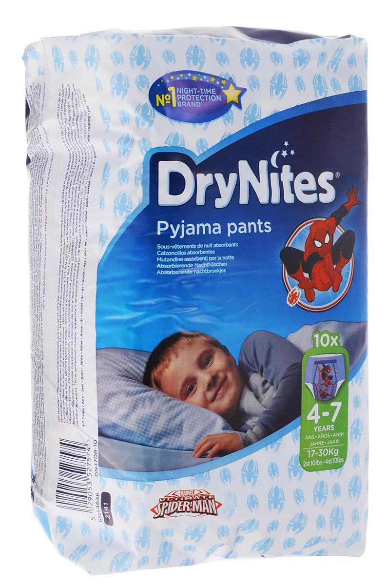 Huggies Подгузники-трусики для мальчиков DryNites 4-7 лет 17-30 кг 10 шт трусики подгузники huggies для мальчиков 5 13 17 кг 32 шт