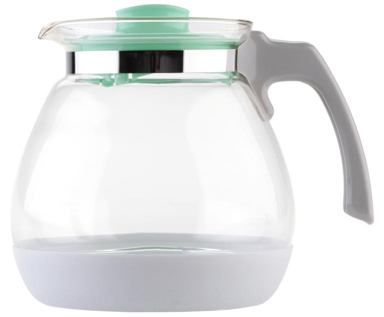 Чайник заварочный Walmer Lime, цвет: мятный, 1,7 лW15005170Заварочный чайник Walmer Lime выполнен из высококачественной стекла. Благодаря фильтру в пластиковой крышке ни чаинки, ни кусочки фруктов не попадут в чашку. Съемная пластиковая подставка защищает корпус чайника от случайных ударов о поверхность стола. Крышка закрывается плотно, вы сможете наклонять чайник как угодно, она не выпадет. Такой заварочный чайник придется по вкусу и ценителям классики, и тем, кто предпочитает утонченность и изысканность.Диаметр по верхнему краю: 10 см. Высота чайника (без учета крышки): 15,8 см.Высота чайника (с учетом крышки): 16 см.