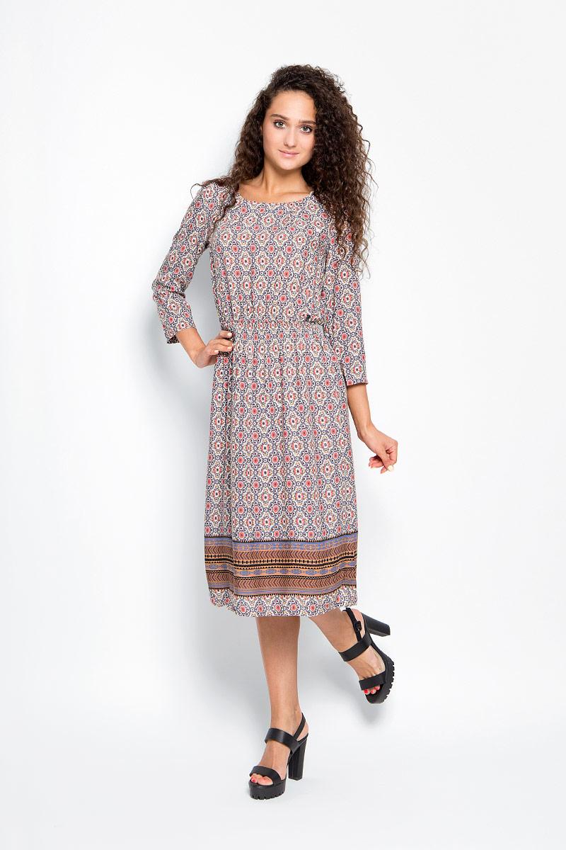 Платье Finn Flare, цвет: коралловый, бежевый, тауп. A16-32032_205. Размер XS (42)A16-32032_205Элегантное платье Finn Flare выполнено из 100% вискозы. Такое платье обеспечит вам комфорт и удобство при носке и непременно вызовет восхищение у окружающих.Модель-макси с рукавами 3/4 и круглым вырезом горловины дополнена широкой эластичной резинкой на талии, благодаря чему выгодно подчеркнет все достоинства вашей фигуры. Изделие застегивается на металлическую пуговицу на спинке. Модель оформлена оригинальным цветочным принтом. Изысканное платье-макси создаст обворожительный и неповторимый образ.Это модное и комфортное платье станет превосходным дополнением к вашему гардеробу, оно подарит вам удобство и поможет подчеркнуть свой вкус и неповторимый стиль.