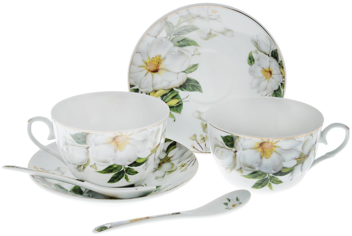 Набор чайный Elan Gallery Белый шиповник, с ложками, 6 предметов730481Чайный набор Elan Gallery Белый шиповник состоит из 2 чашек, 2 блюдец и 2 ложек. Изделия, выполненные из высококачественной керамики, имеют элегантный дизайн и классическую круглую форму.Такой набор прекрасно подойдет как для повседневного использования, так и для праздников. Чайный набор Elan Gallery Белый шиповник - это не только яркий и полезный подарок для родных и близких, а также великолепное дизайнерское решение для вашей кухни или столовой. Не использовать в микроволновой печи.Объем чашки: 250 мл. Диаметр чашки (по верхнему краю): 9,5 см. Высота чашки: 6 см.Диаметр блюдца (по верхнему краю): 14 см.Высота блюдца: 2 см.Длина ложки: 13 см.