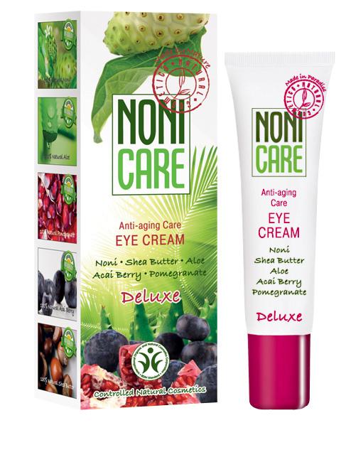 Nonicare Омолаживающий крем для контура глаз Deluxe - Eye Cream 15 мл4260254460043Ультралегкий крем для интенсивного восстановления кожи вокруг глаз с лифтинговым и противоотечным действием. Благодаря входящему в состав соку фрукта Нони, масел ши и миндаля, экстракта плодов пальмы Acai Berry, граната и манго мгновенно наолняют кожу влагой, устраняют сухость, стянутость и ощущение дискомфорта. Средство устраняет застойные явления - причину отеков и темных кругов под глазами. Крем оказывает мощнейшее антиоксидантное действие, восстанавливает упругость и эластичность, способствует улучшению кожного дыхания, микроциркуляции и обменных процессов, стимулирует синтез коллагеновых и эластиновых волокон. Оказывает ангиопротективное и лимфодренажное воздействие, повышает иммунный статус кожи. Осуществляет защиту от агрессивного воздействия экологии и УФ излучения. Экстракты граната и ягод асаи возвращают коже жизненную силу и укрепляют ее, стимулируют синтез коллагена и препятствуют его разрушению, улучшают трофику тканей. Мгновенно насыщает влагой глубокие и поверхностные слои кожи, устраняет отёчность, тёмные круги и гусиные лапки. Крем быстро впитывается и является прекрасной основой под макияж. Подходит для чувствительных глаз. Рекомендован с 40 лет в качестве основного ухода, с 35 лет курсами.