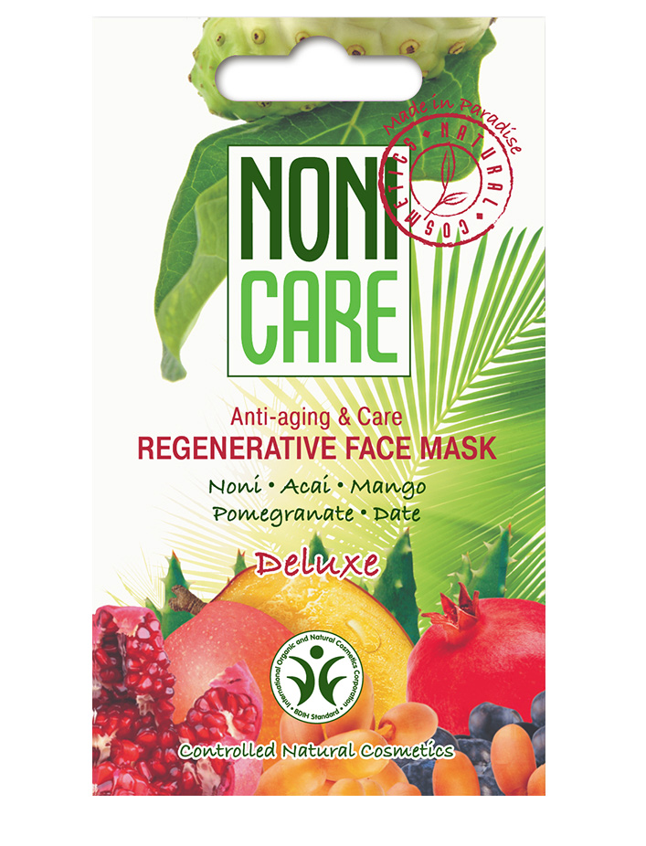 Nonicare Восстанавливающая маска для лица Deluxe - Regenerative Face Mask 11 мл4260254460241Суперпитательная кремовая маска для интенсивного восстановления и «оживления» кожи с признаками стресса и увядания. Обладает омолаживающим действием. Маска является незаменимым средством для восстановления кожи после воздействия окружающей среды: мороз, солнце, ветер, а также для восстановления кожи после пилингов и солярия.Коктейль из соков экзотических растений, богатый витаминами (A, B1, B2, C), микроэлементами, полисахаридами и флавоноидами, активизирует внутренние процессы регенерации. Маска укрепляет сосуды и стимулирует выработку гиалуроновой кислоты, коллагена и эластина, что способствует уменьшению выраженности купероза и морщин. AHA кислоты, входящие в состав фруктов, улучшают проникновение активных компонентов в глубокие слои кожи.Средство устраняет сухость, стянутость, интенсивно питает. Кожа безупречна. Становится более эластичной, гладкой и сияющей, морщинки и мимические линии менее заметны. Текстура кожи заметно улучшается. При регулярном использовании кожа разглаживается, становится однородной, улучшается цвет лица. Рекомендована для всех типов кожи с 30 лет. Может применяться при необходимости (не чаще 1 раза в неделю) с 25 лет.
