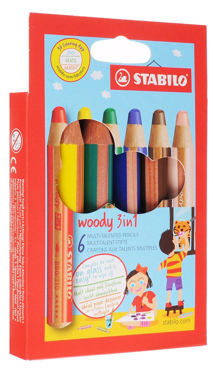 Stabilo Набор цветных карандашей Woody 3-в-1 6 цветов8806Супертолстый цветной карандаш, акварель и восковой мелок в одном. Это уникальные карандаши, сочетающие в себе возможности цветных карандашей, акварельных красок и восковых мелков. Пишут практически на всех гладких поверхностях, включая стекло! Обеспечивают великолепный результат на темной бумаге благодаря исключительной яркости и интенсивности цвета. Великолепные акварельные качества. Очень прочный грифель диаметром 10 мм для мягких штрихов. Цвет корпуса карандаша соответствует цвету грифеля. Набор из 6 карандашей.