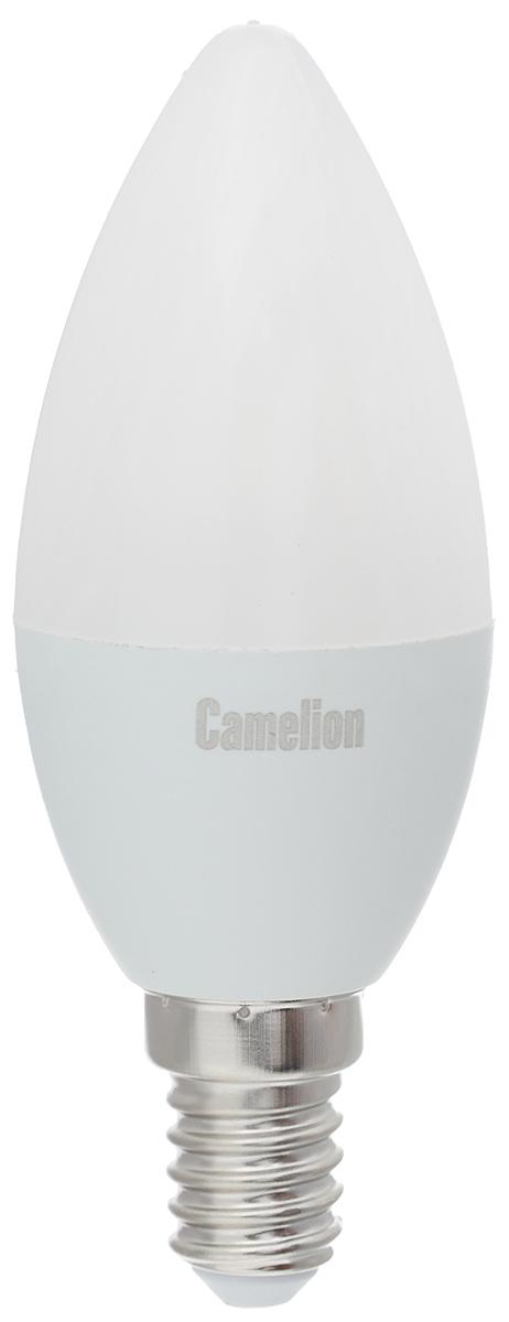 Лампа светодиодная Camelion, холодный свет, цоколь Е14, 7W12074Светодиодная лампа Camelion - это инновационное решение, разработанное на основе новейших светодиодных технологий (LED) для эффективной замены любых видов галогенных или обыкновенных ламп накаливания во всех типах осветительных приборов. Она хорошо подойдет для освещения квартир, гостиниц и ресторанов. Лампа не содержит ртути и других вредных веществ, экологически безопасна и не требует утилизации, не выделяет при работе ультрафиолетовое и инфракрасное излучение. Напряжение: 220-240 В / 50 Гц.Индекс цветопередачи (Ra): 77+.Угол светового пучка: 220°. Использовать при температуре: от -30° до +40°.