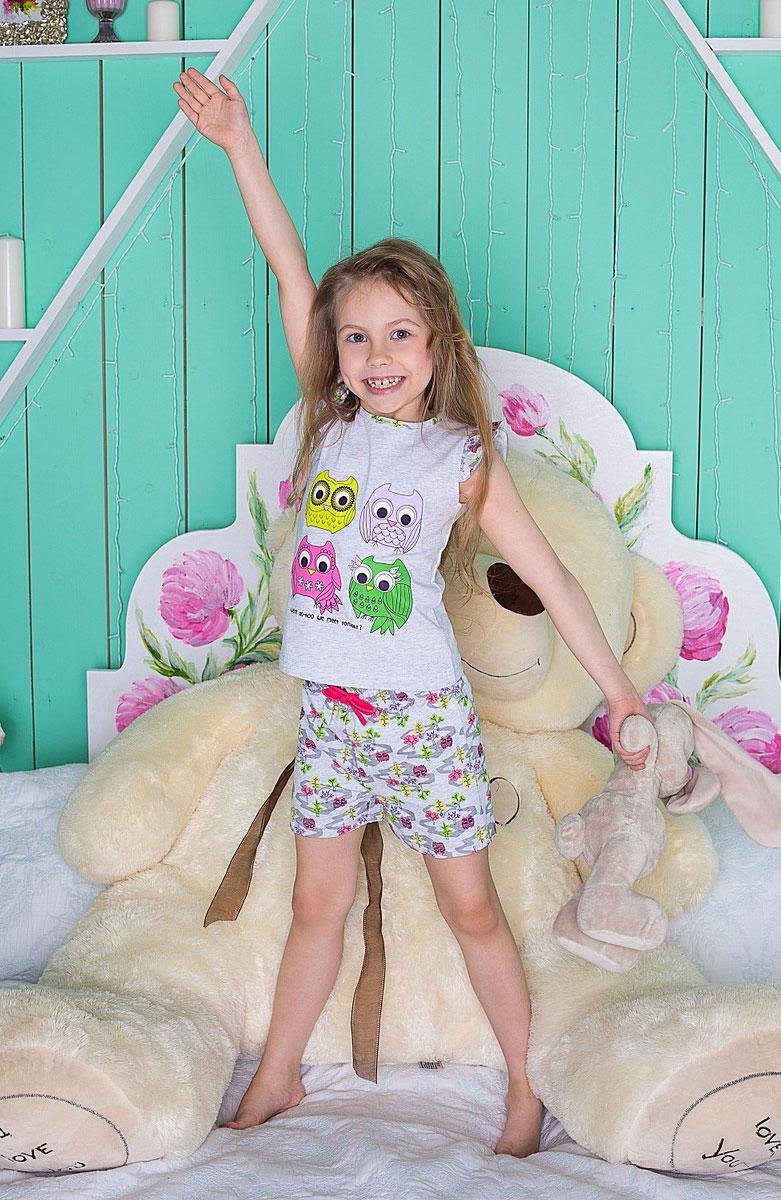 Комплект для девочки Sweet Berry: футболка, шорты, цвет: серый меланж, розовый, зеленый. 195946. Размер 104, 4 года195946Уютный комплект для девочки, состоящий из футболки и шорт, выполнен из трикотажного материала. Футболка с круглым вырезом горловины оформлена принтом. Шорты имеют эластичный пояс с регулируемым шнурком.
