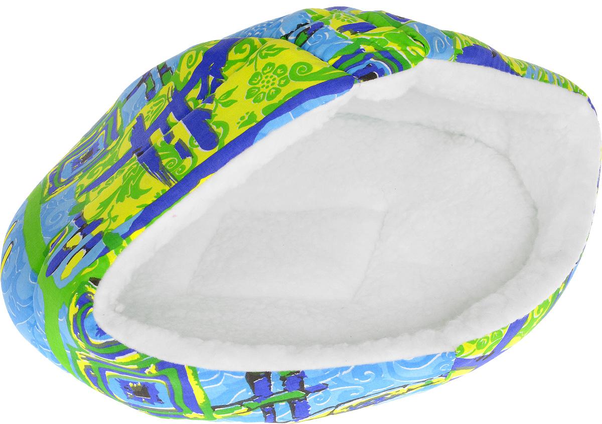 Лежак для животных Elite Valley  Лукошко , 45 х 35 х 34 см. Л-14/2_синий, желтый, голубой - Лежаки, домики, спальные места