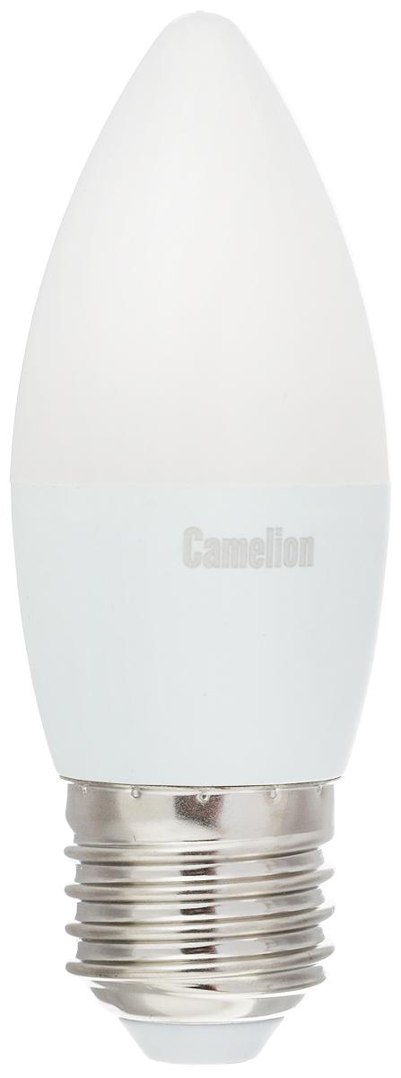 Лампа светодиодная Camelion, теплый свет, цоколь Е27, 7W. 1207712077Светодиодная лампа Camelion - это инновационное решение, разработанное на основе новейших светодиодных технологий (LED) для эффективной замены любых видов галогенных или обыкновенных ламп накаливания во всех типах осветительных приборов. Она хорошо подойдет для освещения квартир, гостиниц и ресторанов. Лампа не содержит ртути и других вредных веществ, экологически безопасна и не требует утилизации, не выделяет при работе ультрафиолетовое и инфракрасное излучение. Напряжение: 220-240 В / 50 Гц.Индекс цветопередачи (Ra): 77+.Угол светового пучка: 220°. Использовать при температуре: от -30° до +40°.