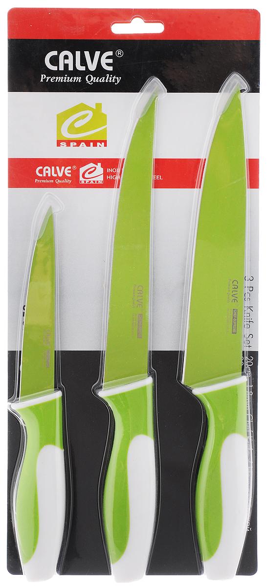 Набор ножей Calve, цвет: зеленый, белый, 3 предмета. CL-3106CL-3106Набор Calve состоит из поварского, разделочного и универсального ножей. Лезвия изделий выполнены из высококачественной нержавеющей стали. Эргономичные рукоятки изготовлены из пластика. Ножи отвечают высоким стандартам качества и гигиены. Благодаря прочности и надежности они идеально подходят для любой кухни. Можно мыть в посудомоечной машине. Длина лезвия поварского ножа: 19,5 см. Общая длина поварского ножа: 31 см. Длина лезвия разделочного ножа: 19 см. Общая длина разделочного ножа: 31 см. Длина лезвия ножа универсального: 12 см. Общая длина ножа универсального: 23,5 см.