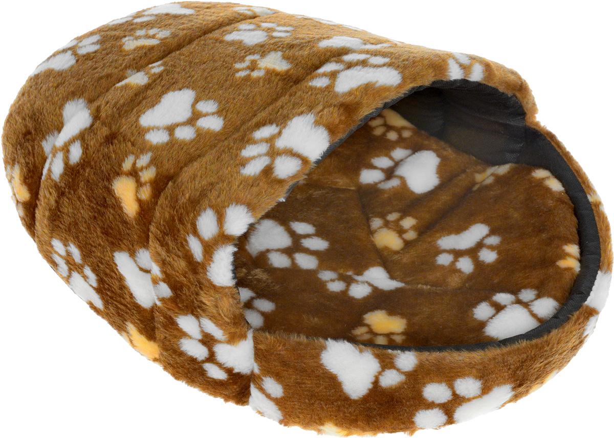 "Лежак для животных Elite Valley ""Тапок"", цвет: коричневый, черный, белый, 59 х 44 х 26 см"
