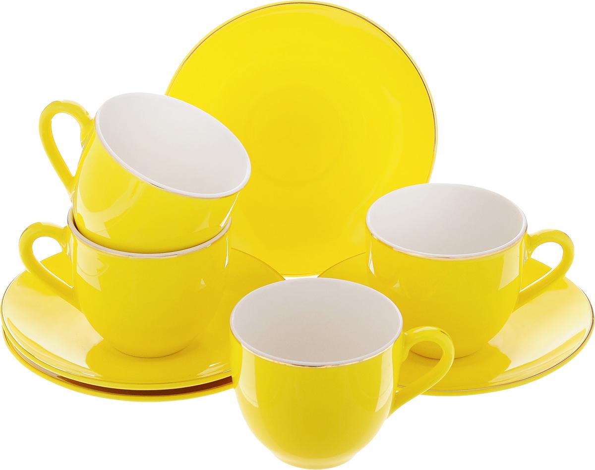 Набор кофейный Loraine, цвет: желтый, 8 предметов. 2475124751Кофейный набор Loraine состоит из 4 чашек и 4 блюдец. Изделия выполнены из высококачественного фарфора, имеют яркий дизайн и классическую круглую форму. Такой набор прекрасно подойдет как для повседневного использования, так и для праздников. Набор Loraine - это не только яркий и полезный подарок для родных и близких, но и великолепное дизайнерское решение для вашей кухни или столовой. Диаметр чашки (по верхнему краю): 6 см. Высота чашки: 5,5 см. Диаметр блюдца (по верхнему краю): 11 см.Высота блюдца: 1,7 см.Объем чашки: 80 мл.