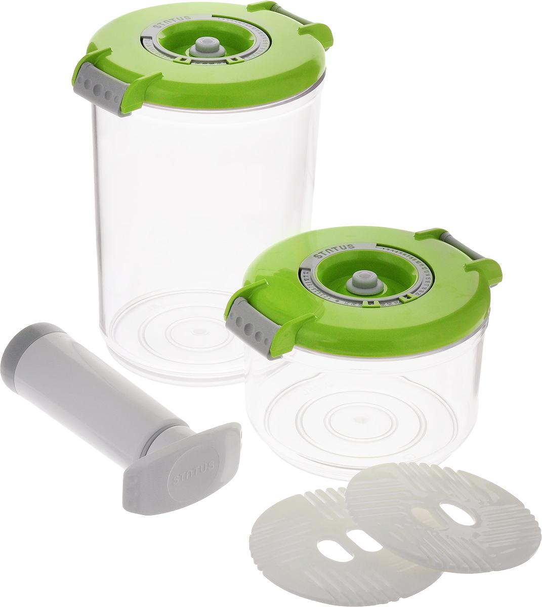 Набор вакуумных контейнеров Status, цвет: прозрачный, зеленый, 2 шт + ПОДАРОК: Вакуумный ручной насосVAC-RD-Round GreenПромо набор вакуумных контейнеров с подаркомКомплектация: контейнеры 0,75 л, 1,5 л, два поддона + ручной насос в подарок. Благодаря использованию вакуумных контейнеров, продукты не подвергаются внешнему воздействию, и срок хранения значительно увеличивается. Продукты сохраняют свои вкусовые качества и аромат, а запахи в холодильнике не перемешиваются.Контейнеры для хранения продуктов в вакуумеПрочный хрустально-прозрачный тританКруглая форма контейнеровИндикатор даты (месяц, число)BPA-FreeСделано в СловенииДопускается замораживание (до -21 °C), мойка контейнера в ПММ, разогрев в СВЧ (без крышки).Рекомендовано хранение следующих продуктов: сахар, кофе в зёрнах, чай, мука, крупы, соусы, супы.