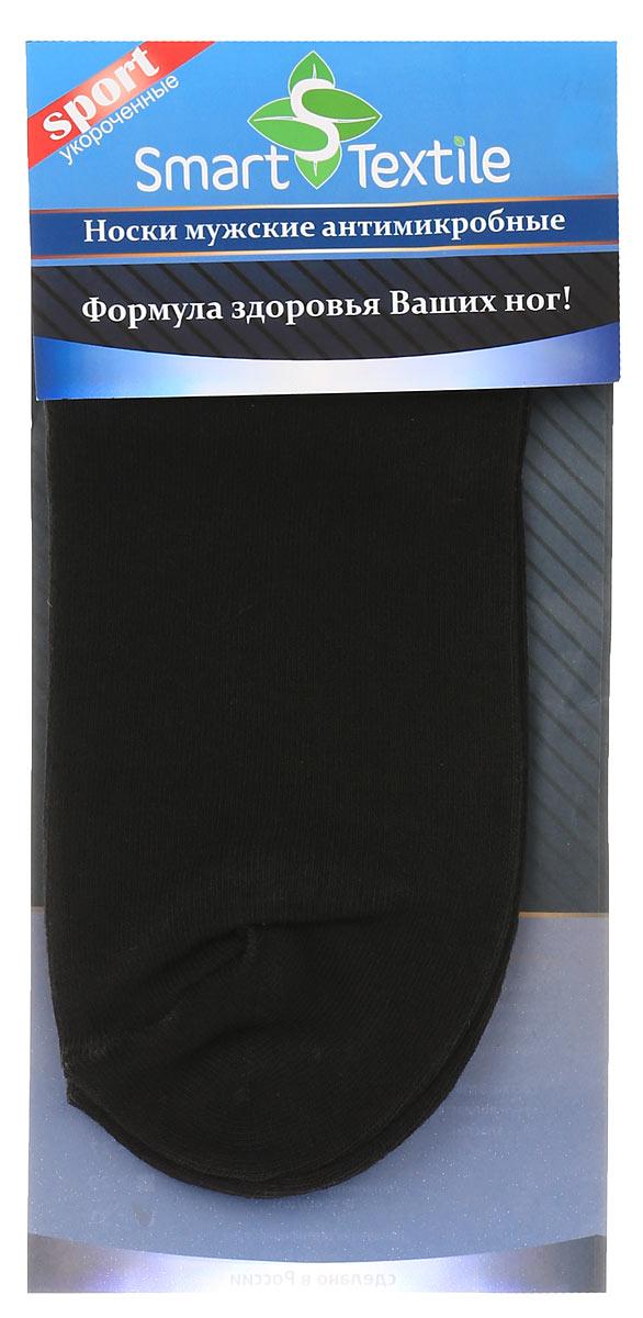 Носки мужские Smart Textile Гигиена-грибок, противогрибковые и антимикробные, цвет: черный. Н417. Размер 27Н417Удобные, укороченные мужские носки Smart Textile Гигиена-грибок, изготовленные из высококачественного комбинированного материала, идеально подойдут вам. Носки выполнены из эластичного хлопка с добавлением полиамида, что позволяет им легко тянуться, делая их комфортными в носке. Эластичная резинка плотно облегает ногу, не сдавливая ее, обеспечивая комфорт и удобство. Усиленная пятка и мысок обеспечивают надежность и долговечность. Противогрибковые носки Гигиена-грибок обладают специальными свойствами, благодаря дополнительной обработке швейцарским препаратом Sanitized Ag. Препарат Sanitized Ag разработан в Швейцарии, не вызывает раздражения кожи. Данный противогрибковый препарат, которым пропитаны текстильные волокна, выделяется из ткани, пока вы носите носки, благодаря чему обеспечивается надежная защита от болезнетворных микроорганизмов в течение длительного времени. Такие носки надежно защитят ваши ногти, пальцы и ступни ног от грибковых и гнойничковых заболеваний. Носки Гигиена-грибок способны уменьшить неприятный запах пота от ног при продолжительном ношении плотной, не дышащей обуви.