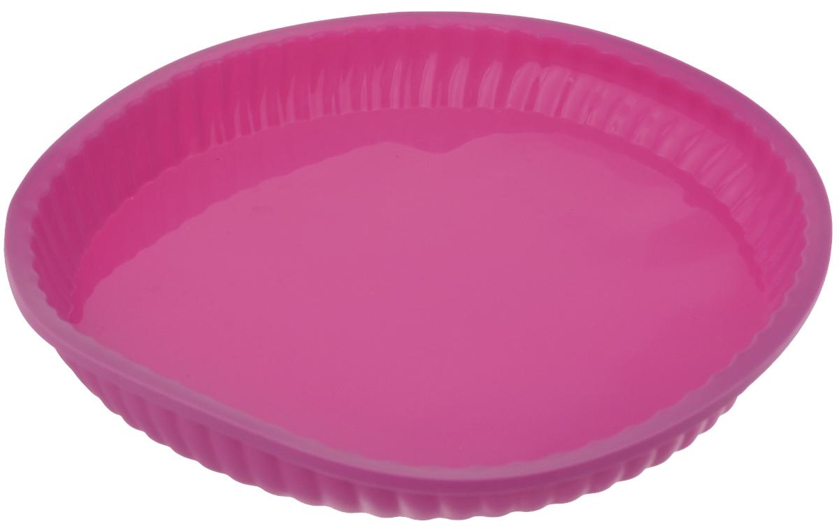 Форма для выпечки Marvel, силиконовая, цвет: розовый, диаметр 26,6 см8788Форма Marvel выполнена из высококачественного 100% пищевого силикона. Идеально подходит для приготовления выпечки, десертов и холодных закусок. Форма выдерживает температуру от -40 до +240°C, обладает естественными антипригарными свойствами. Не выделяет вредных веществ при высоких температурах. Подходит для использования в духовке и микроволновой печи. Внешний диаметр формы: 26,6 см. Внутренний диаметр формы: 24,5 см. Высота стенки: 3 см.