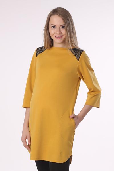 Платье-туника для беременных Hunny Mammy, цвет: горчичный. 16511. Размер 4816511Яркое платье-туника - замечательный вариант для модниц: отлично смотрится и с леггинсами, и отдельно - как маленькое платье.
