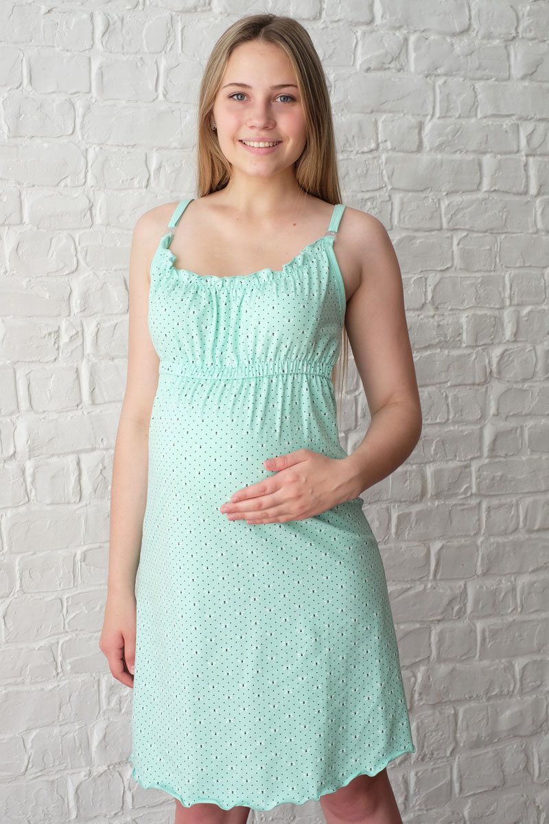 Сорочка ночная для беременных и кормящих Hunny Mammy, цвет: светло-зеленый. П07502. Размер 42П 07502Удобная трикотажная ночная сорочка для беременных и кормящих Hunny Mammy, изготовленная из высококачественного хлопкового материала с добавлением эластана. Сорочка на тонких бретелях с клипсами для кормления. Верх сорочки дополнен эластичными резинками и элегантными складочками. Модель выполнена в лаконичном стиле. Одежда, изготовленная из хлопка, приятна к телу, сохраняет тепло в холодное время года и дарит прохладу в теплое, позволяет коже дышать.
