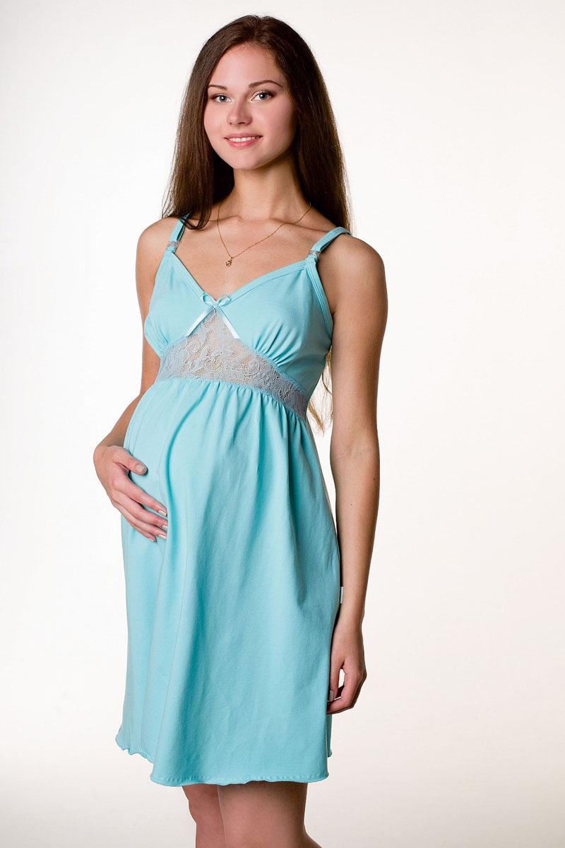 Сорочка ночная для беременных и кормящих Hunny Mammy, цвет: бирюзовый. П 13502. Размер 521-НПМ 13502Легкая очаровательная ночная сорочка на бретелях будет удобна беременным и кормящим мамочкам благодаря застежкам-клипсам. Украшает сорочку кружевная вставка под грудью.