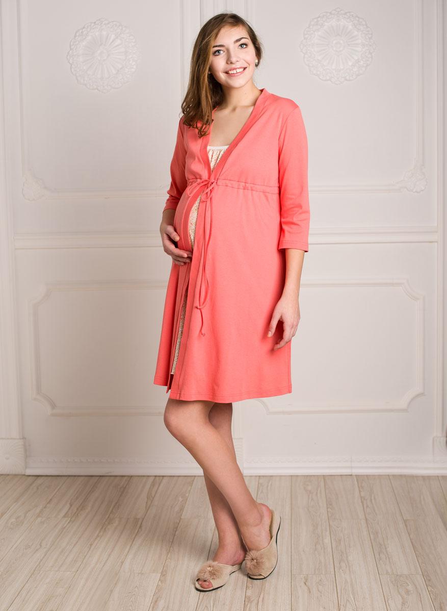 Комплект для беременных и кормящих Hunny Mammy: халат, сорочка ночная, цвет: коралловый, персиковый. К 09221. Размер 48К 09221Комплект, выполненный из хлопка, состоит из ночной сорочки и халата. Халат-пеньюар трапециевидного силуэта, рукав 3/4. Сорочка на бретели с клипсой для кормления.