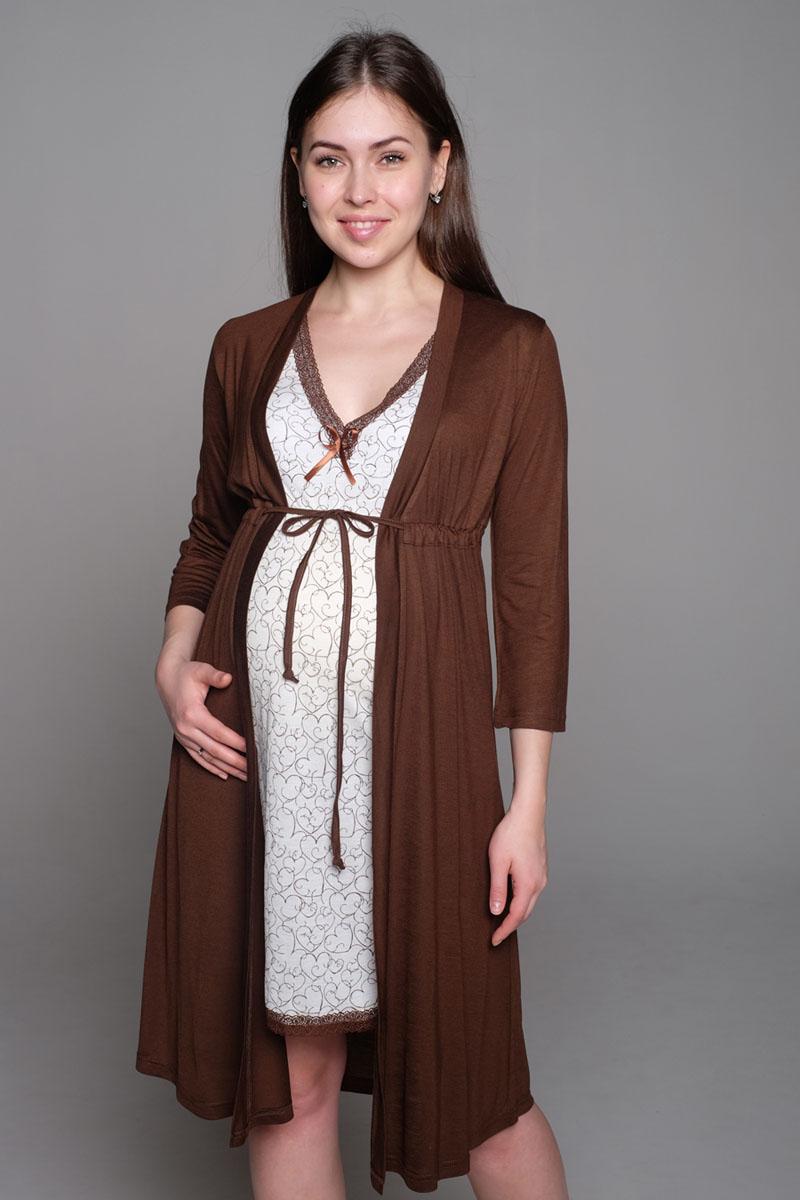 Комплект для беременных и кормящих Hunny Mammy: халат, сорочка ночная, цвет: коричневый, белый. К 16232. Размер 46К 16232Комплект, выполненный из эластичного трикотажного полотна, состоит из ночной сорочки и халата. Халат трапециевидного силуэта, рукав 3/4. Сорочка без рукава. Горловина и низ изделия украшены кружевом.