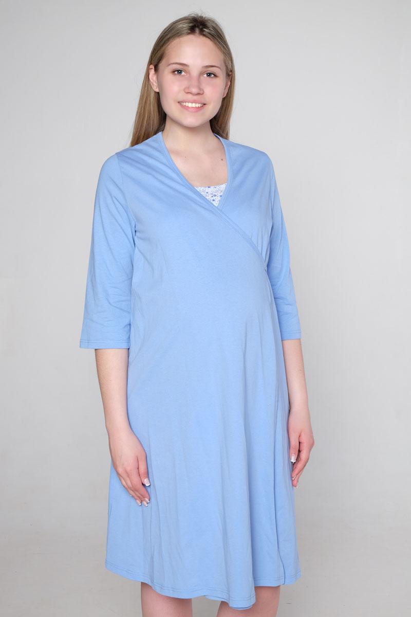 Стерильный комплект в роддом Hunny Mammy: халат, ночная сорочка, цвет: голубой, белый. КСР № 2. Размер 56 комплект белья послеродовый стерильный п6 пелигрин