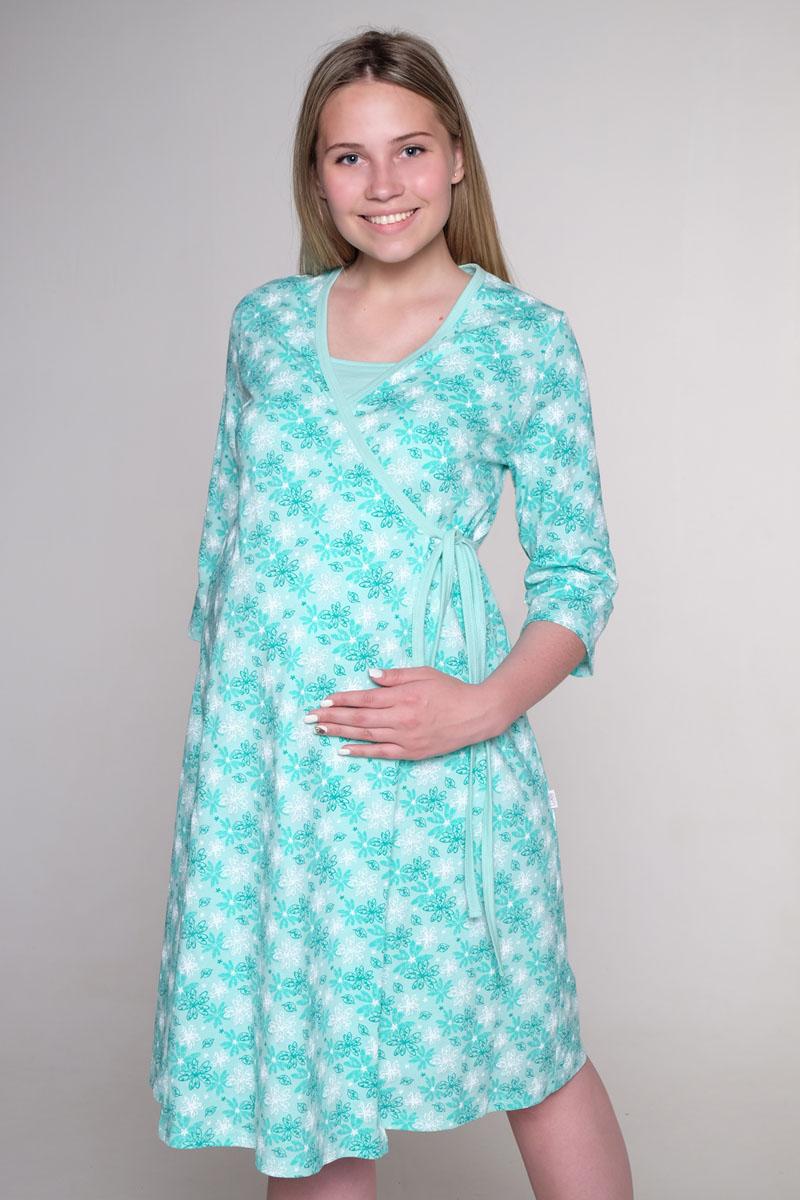 Стерильный комплект в роддом Hunny Mammy: халат, ночная сорочка, цвет: ментоловый, белый. КСР № 2. Размер 50 комплект белья послеродовый стерильный п6 пелигрин