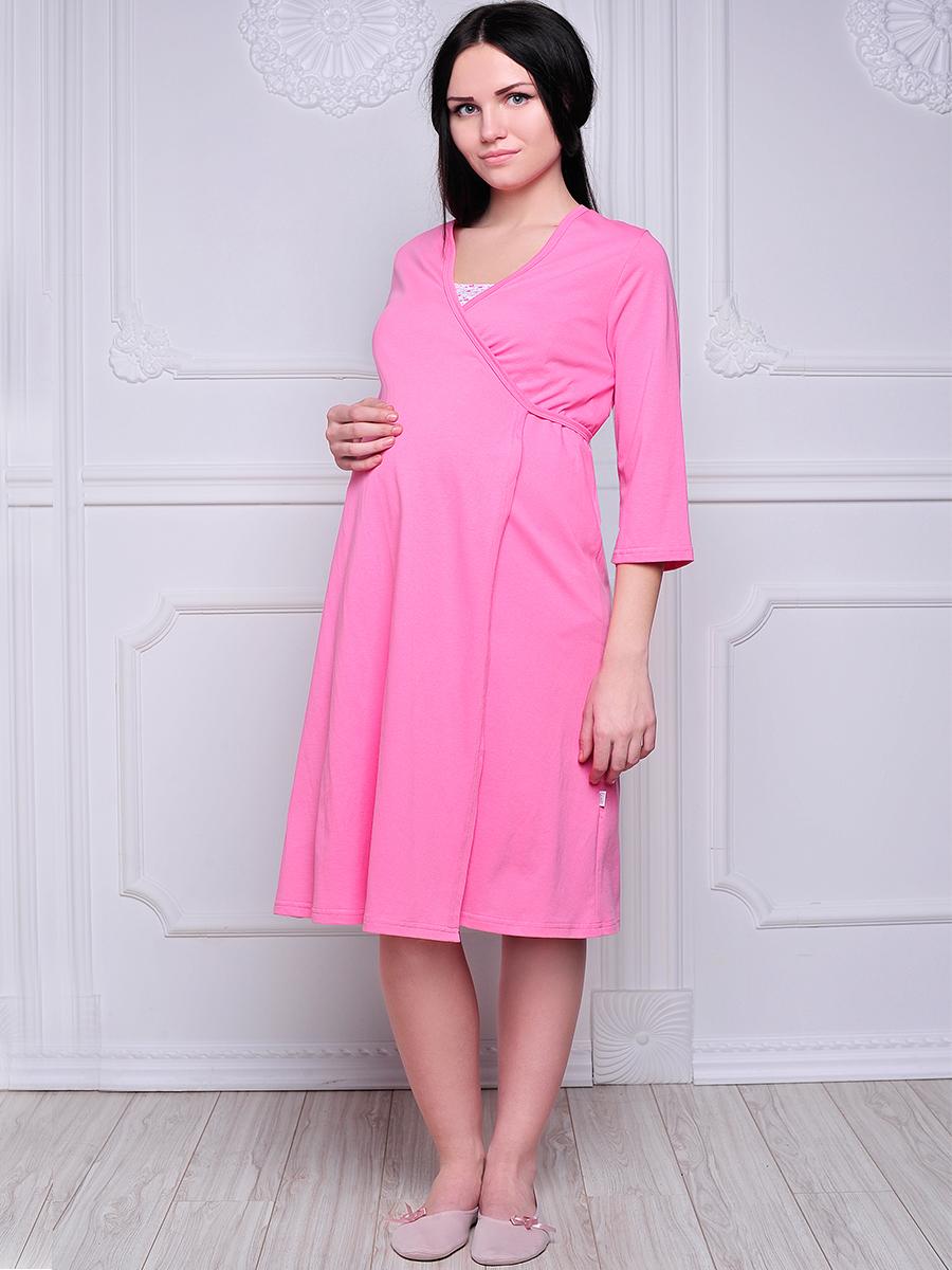 Стерильный комплект в роддом Hunny Mammy: халат, ночная сорочка, цвет: розовый, белый. КСР № 2. Размер 52 комплект белья послеродовый стерильный п6 пелигрин
