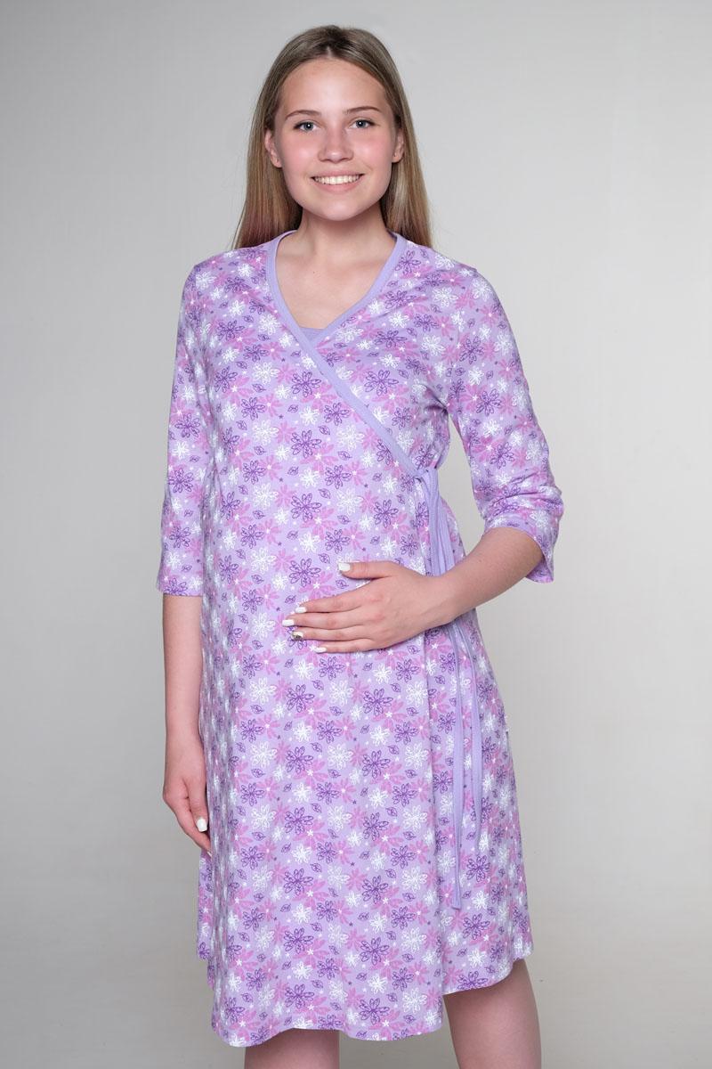 Стерильный комплект в роддом Hunny Mammy: халат, ночная сорочка, цвет: сиреневый, белый. КСР № 2. Размер 52 комплект белья послеродовый стерильный п6 пелигрин