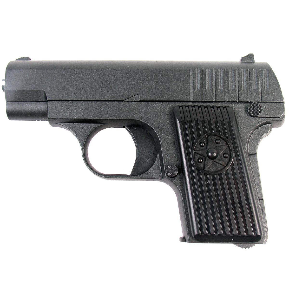 """Пружинный пистолет G.11 является уменьшенной стилизацией известного пистолета """"ТТ"""". Корпус  пистолета цельнометаллический. В магазин вмещается 7 шариков BB 6 мм. Выстрел из  пистолета осуществляется с помощью пружины, максимальная начальная скорость выстрела не  более 50 м/с. Прицельные приспособления не регулируемые, пистолет предназначен для  стрельбы на короткие дистанции."""