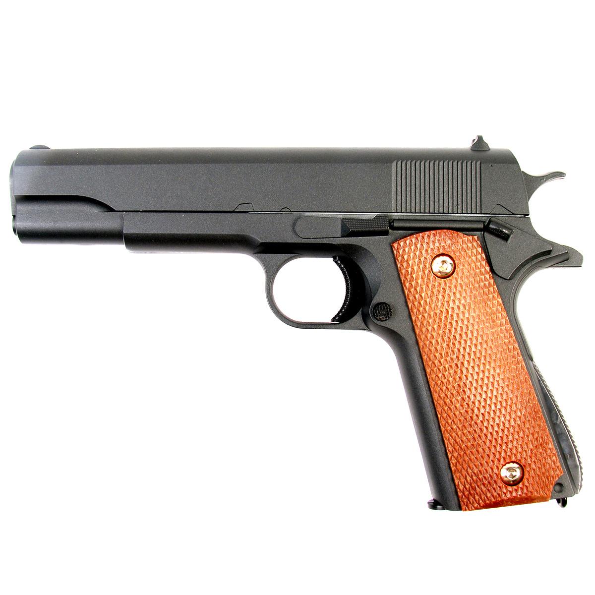 Пистолет страйкбольный Galaxy G.13, пружинный, 6 ммG.6Пружинный пистолет G.13 является репликой легендарного пистолета Colt 1911. Корпуспистолета цельнометаллический. В магазин вмещается 12 шариков BB 6 мм. Выстрел изпистолета осуществляется с помощью пружины, максимальная начальная скорость выстрела неболее 50 м/с. Прицельные приспособления не регулируемые, пистолет предназначен длястрельбы на короткие дистанции.