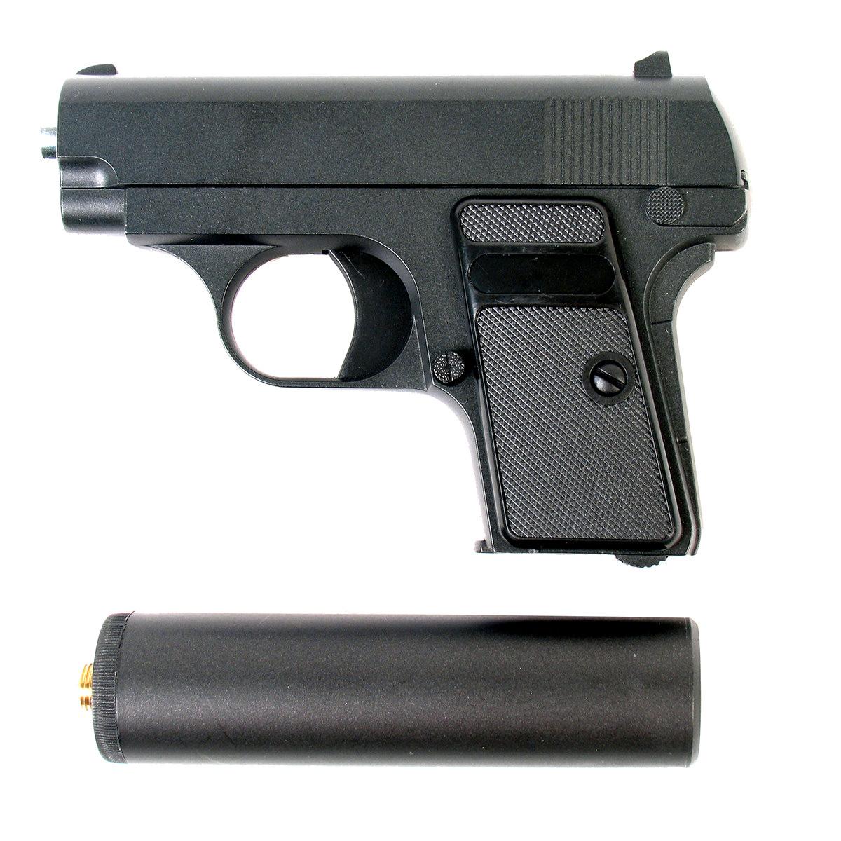 Пистолет страйкбольный Galaxy G.1A, пружинный, 6 ммG.1AПружинный пистолет G.1A является репликой компактного пистолета Colt25, предназначенного для скрытого ношения и укомплектован съемным глушителем. Корпус пистолета цельнометаллический. В магазин вмещается 7 шариков BB 6 мм. Выстрел из пистолета осуществляется с помощью пружины, максимальная начальная скорость выстрела не более 50 м/с. Прицельные приспособления не регулируемые, пистолет предназначен для стрельбы на короткие дистанции.