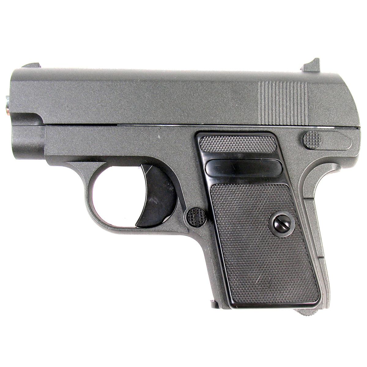 Пистолет страйкбольный Galaxy G.9, пружинный, 6 ммG.9Пружинный пистолет G.9 является уменьшенной репликой компактного пистолета Colt 25, предназначенного для скрытого ношения. Корпус пистолета цельнометаллический. В магазин вмещается 6 шариков BB 6 мм. Выстрел из пистолета осуществляется с помощью пружины, максимальная начальная скорость выстрела не более 50 м/с. Прицельные приспособления не регулируемые, пистолет предназначен для стрельбы на короткие дистанции.