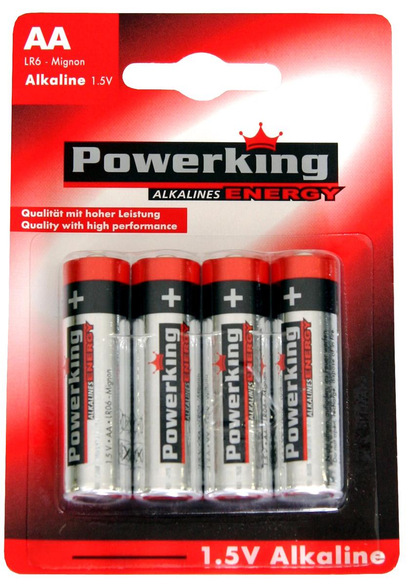 Батарейка алкалиновая PowerKing, тип АА, 1,5V, 4 шт114515Щелочные (алкалиновые) батарейки PowerKing оптимально подходят для повседневного питания множества современных бытовых приборов: электронных игрушек, фонарей, беспроводной компьютерной периферии и многого другого. Не содержат кадмия и ртути. Батарейки созданы для устройств со средним и высоким потреблением энергии. Работают в 10 раз дольше, чем обычные солевые элементы питания. PowerKing - высокое качество и максимальная производительность!