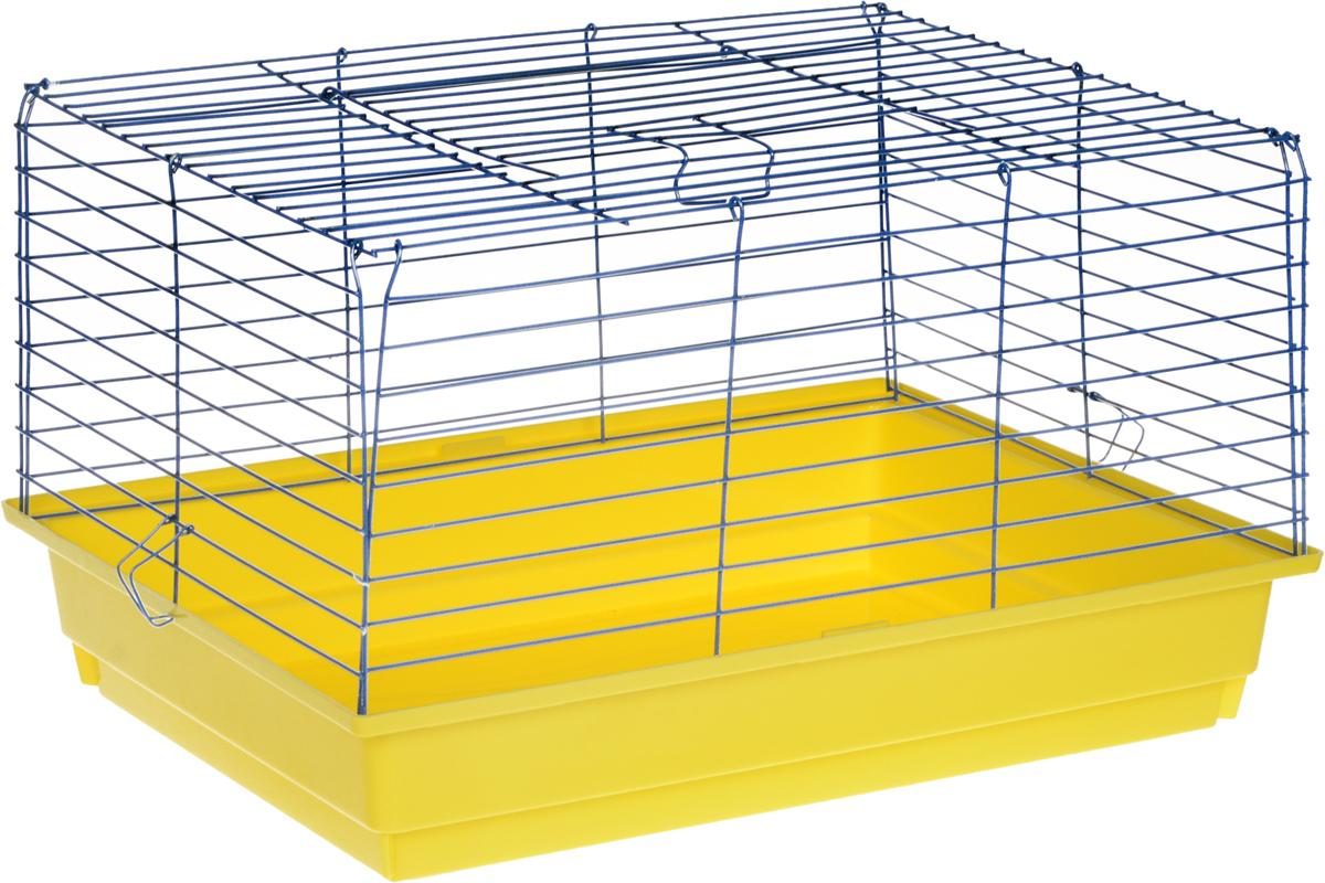 Клетка для кролика  ЗооМарк , цвет: желтый поддон, синяя решетка, 60 х 40 х 35 см - Клетки, вольеры, будки